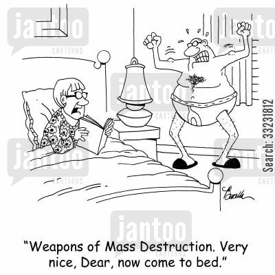 come ons cartoon humor: 'Weapons of Mass Destruction. Very nice, Dear, now come to bed.'
