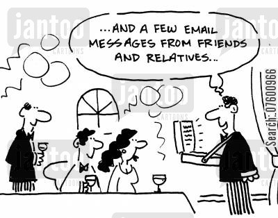 communication breakdown cartoon humor: '...and a few email messages from friends and relatives...'