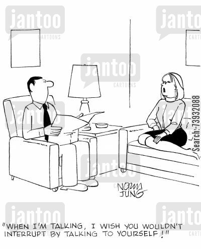 converse cartoon humor: 'When I'm talking, I wish you wouldn't interrupt by talking to yourself!'