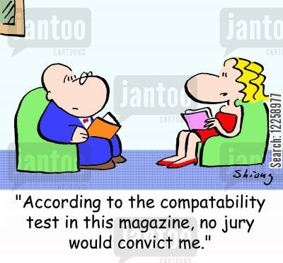 magazine quiz cartoon humor: 'According to the compatibility test in this magazine, no jury would convict me.'