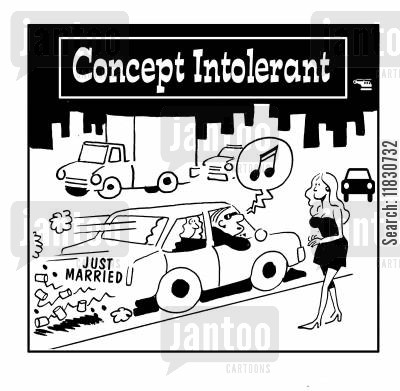 sexy girls cartoon humor: Concept Intolerant.