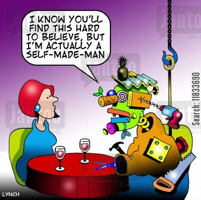 self belief cartoon humor: 'I know you'll find this hard to believe but I am actually a self made man.'