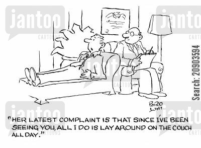 marriage troubles cartoon humor: 'Her latest complaint is that since I've been seing you, all I do is lay aorund on the couch all day.'