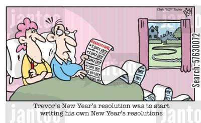 irritating habit cartoon humor: Trevor's New Year's resolution was to start writing his own New Year's resolutions.