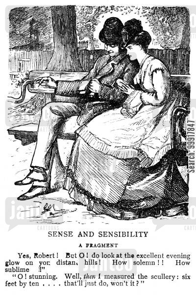 sense and sensibility cartoon humor: Woman talking romantically whilst man talks about measuring the scullery.