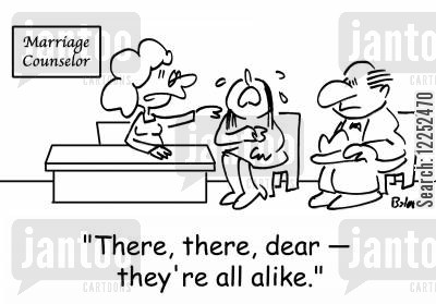 couples counselling cartoon humor: 'There, there, dear -- they're all alike.'