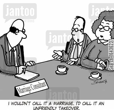 couples counseling cartoon humor: 'I wouldn't call it a marriage. I'd call it an unfriendly takeover.'
