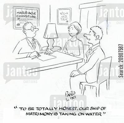 analogy cartoon humor: 'To be totally honest, our ship of matrimony is taking on water.'