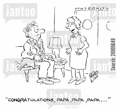 new father cartoon humor: 'Congratulations, Papa, Papa, Papa...'