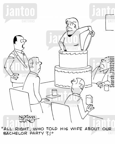 scold cartoon humor: 'All right, who told his wife about our bachelor party?!'