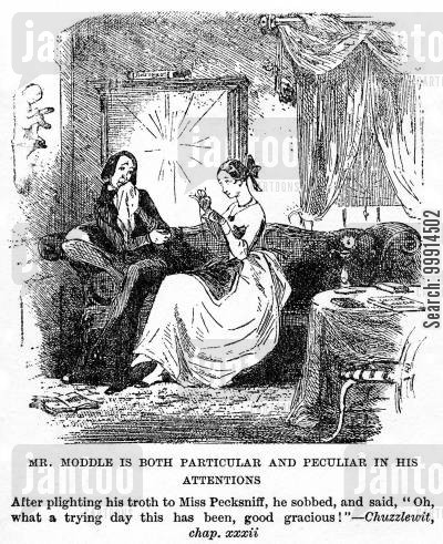 peculiar cartoon humor: Mr. Moddle is both particular and peculiar in his attentions