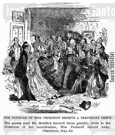 fainting cartoon humor: The nuptials of Miss Pecksniff recieve a temporary check