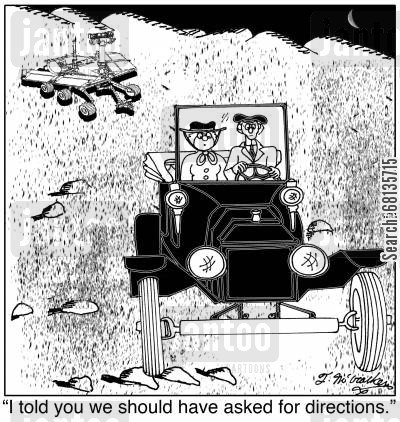 directs cartoon humor: 'I told you we should have asked for directions.'