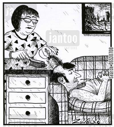 sweeping cartoon humor: Woman sweeping dust under a man's hairpiece.