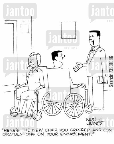 loveseat cartoon humor: 'Here's the new chair you ordered, and congratulations on your engagement.'