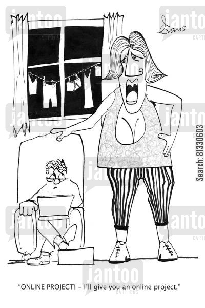 laundry days cartoon humor: 'ONLINE PROJECT! - I'll give you an online project.'
