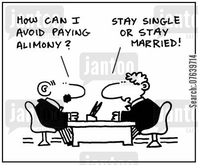 spouses cartoon humor: 'How can I avoid paying alimony?' - 'Stay single or stay married.'