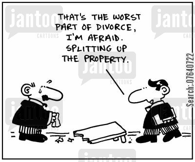 family court cartoon humor: 'That's the worst part of divorce I'm afraid. Splitting up the property.'