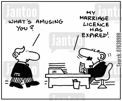 marriage licence cartoon humor: 'What's amusing you?. My marriage licence has expired.'