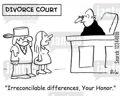 irreconcilable differences cartoon humor: 'Irreconcilable differences, Your Honor.'