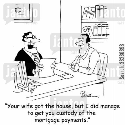 divorces cartoon humor: 'Your wife got the house, but I did manage to get you custody of the mortgage payments.'