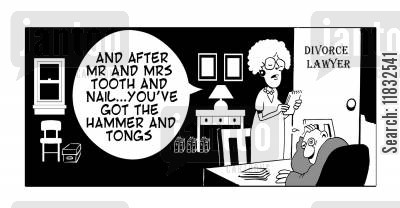 the courts cartoon humor: After Mr and Mrs Tooth and Nail you've got the Hammer and Tongs.