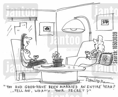 longevity cartoon humor: 'You and Greg have been married an entire year?...Tell me, what's your secret?'