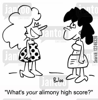 high scores cartoon humor: 'What's your alimony high score?'