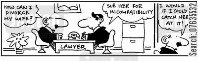 costly divorce cartoon humor: How can I divorce my wife? Sue her for incompatibility. I would if I could catch her at it!