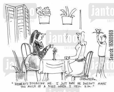 alimony payments cartoon humor: Herbert's divorcing me. I hope he doesn't make too much fuss when I tell him.