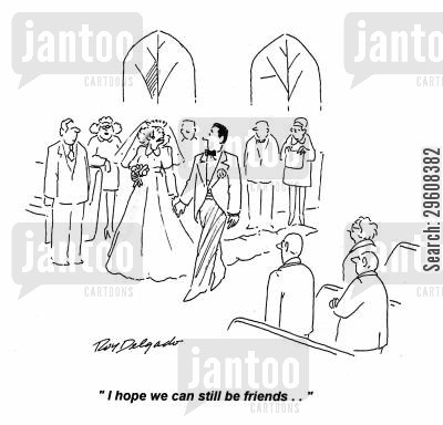 left at the alter cartoon humor: 'I hope we can still be friends.'