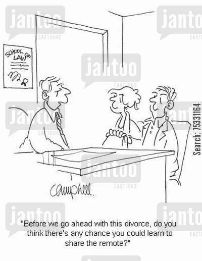 tv remote cartoon humor: 'Before we go ahead with this divorce, do you think there's any chance you could learn to share the remote?'