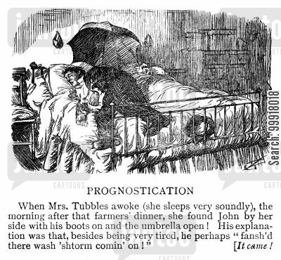 clothed cartoon humor: Woman awakes to find her drunk husband has gone to bed with his clothes on and umbrella open.