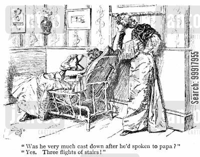 proposal cartoon humor: 'Was he very much cast down after he'd spoken to papa?' 'Yes. Three flights of stairs!'