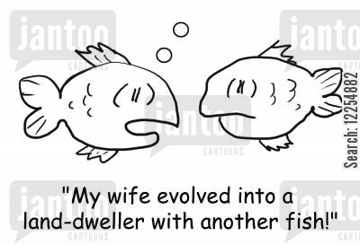 land-dweller cartoon humor: 'My wife evolved into a land-dweller with another fish!'