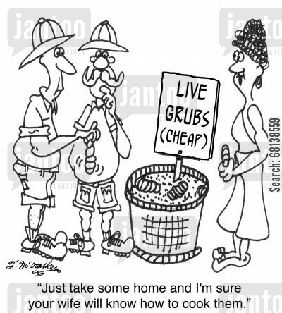exotic cuisine cartoon humor: 'Just take some home and I'm sure your wife will know how to cook them.'