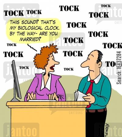 propositions cartoon humor: 'This sound? That's my biological clock. By the way- are you married?'