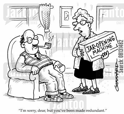 jar lid cartoon humor: 'I'm sorry, dear, but you've been made redundant.'