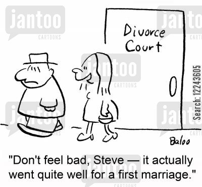 first marriages cartoon humor: 'Don't feel bad, Steve -- it actually went quite well for a first marriage.'