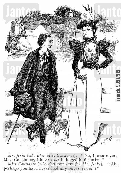 flirt cartoon humor: Man states that he has never indulged in flirtation - lady suggest that perhaps he has never had any encouragement.