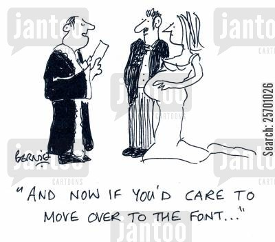 pregnant bride cartoon humor: 'And now if you'd care to move over to the font...'