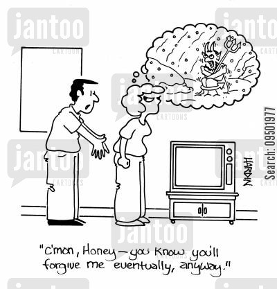 cold shoulder cartoon humor: 'C'mon honey, you know you'll forgive me eventually anyway.'