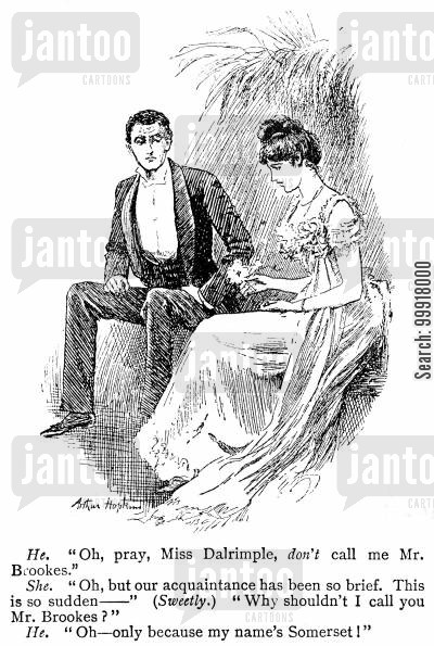 informality cartoon humor: Young man talking to a young lady.