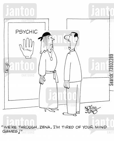 relationship breakdowns cartoon humor: 'We're through, Zena. I'm tired of your mind games!'