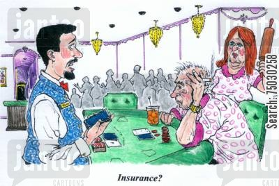 bingo cartoon humor: 'Insurance?'