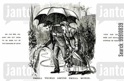 watering cartoon humor: Couple using thier new garden hose in the rain
