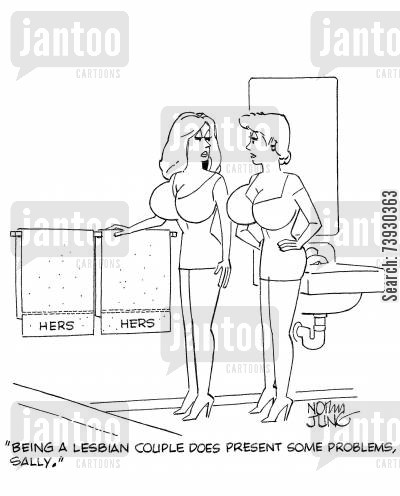 relationship problems cartoon humor: 'Being a lesbian couple does present some problems, Sally.'