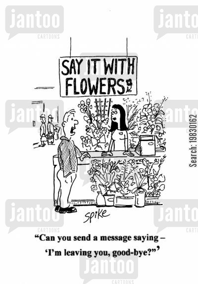 leaving gift cartoon humor: 'Can you send a message saying....'I'm leaving you, good-bye?'