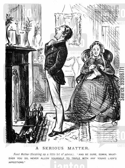 mantlepiece cartoon humor: A man receiving advice from his mother by the fireplace