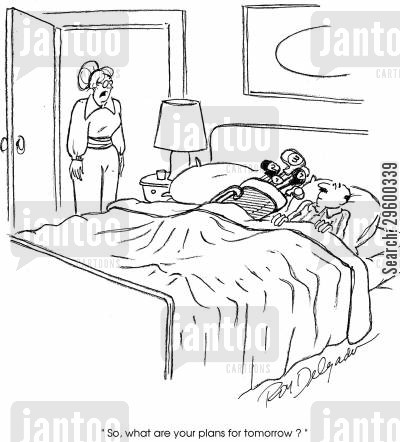 golf player cartoon humor: 'So, what are your plans for tomorrow?'